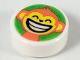 Part No: 98138pb158  Name: Tile, Round 1 x 1 with Coral Monkey with Bright Light Orange Face on Bright Green Background Pattern