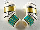 Part No: 981982pb216  Name: Arm, (Matching Left and Right) Pair with Wrappings, Gold and Dark Turquoise Bracelets Pattern