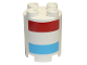 Part No: 98225pb005  Name: Duplo, Brick Round 2 x 2 x 2 with Red and Medium Azure Stripes Pattern