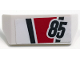 Part No: 98834pb10  Name: Vehicle, Spoiler 2 x 4 with Handle with '85' and Dark Bluish Gray and Red Stripes Pattern (Sticker) - Set 60145