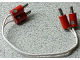 Part No: 996ac15red  Name: Electric, Wire 4.5V with four Red 1-prong connectors Hollow Pin, 15 Studs Long