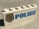 Part No: BA003pb11  Name: Stickered Assembly 6 x 1 x 2 with Blue 'POLICE' with World City Gold Police Badge Pattern (Sticker) - Set 7035 - 2 Bricks 1 x 6