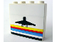 Part No: BA006pb04  Name: Stickered Assembly 4 x 1 x 3 with Classic Airport Logo Pattern (Sticker) - 3 bricks 1 x 4