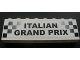 Part No: BA009pb08  Name: Stickered Assembly 8 x 1 x 2 with Black and White Checks and 'ITALIAN GRAND PRIX' Pattern (Sticker) - Set 8672 - 2 Bricks 1 x 8