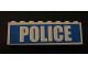 Part No: BA009pb09  Name: Stickered Assembly 8 x 1 x 2 with White 'POLICE'  Pattern (Sticker) - Set 7743 - 2 Bricks 1 x 8