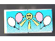 Part No: BA013pb01  Name: Stickered Assembly 2 x 4 with White and Pink Balloons with Yellow Sun Pattern (Sticker) - Set 6409 - 2 Tiles 2 x 2