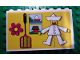 Part No: BA051pb01  Name: Stickered Assembly 8 x 1 x 4 with Jumping-Jack, House, Lake and Clown Pattern on Yellow Background (Sticker) - Set 297 - 4 Bricks 1 x 8