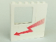 Part No: BA076pb01L  Name: Stickered Assembly 6 x 1 x 5 with Red Arrow Pattern Model Left Side (Sticker) - Set 5561 - 2 Bricks 1 x 6, 1 Panel 1 x 2 x 3, 1 Window 1 x 4 x 3