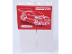 Part No: BA090pb02  Name: Stickered Assembly 4 x 1 x 5 with Red and Lime Car Posters Pattern on Both Sides (Stickers) - Set 8681 - 2 Bricks 1 x 2 x 5