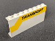 Part No: BA098pb01R  Name: Stickered Assembly 8 x 1 x 3 with Black 'TRANSPORT' on Yellow Stripe Pattern Model Right Side (Sticker) - Set 6367 - 2 Panels 1 x 4 x 3 - Solid Studs