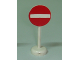 Part No: b0b305pb02  Name: Road Sign with Post, Round with No Entry / Thoroughfare Pattern - Single Piece Unit