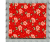 Part No: bb0063pb02  Name: Scala Cloth Blanket 7 x 7 with Light Salmon Flowers, Green Leaves, Red Background Pattern