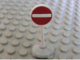 Part No: bb0140pb01c01  Name: Road Sign with Post, Round with No Entry / Thoroughfare Pattern, Type 1 Base