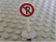 Part No: bb0140pb02c01  Name: Road Sign with Post, Round with No Parking Pattern, Type 1 Base