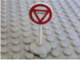 Part No: bb0140pb03c01  Name: Road Sign with Post, Round with Triangle Stop Pattern, Type 1 Base
