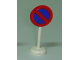 Part No: bb0305pb03  Name: Road Sign with Post, Round with No Parking Blue Pattern - Single Piece Unit
