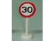 Part No: bb0305pb05  Name: Road Sign with Post, Round with 30 Pattern - Single Piece Unit