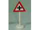 Part No: bb0307pb01  Name: Road Sign with Post, Triangle with '+' Pattern - Single Piece Unit