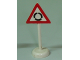 Part No: bb0307pb05  Name: Road Sign with Post, Triangle with Roundabout Pattern - Single Piece Unit