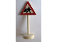 Part No: bb0307pb06  Name: Road Sign with Post, Triangle with Pedestrian Crossing 2 People Pattern - Single Piece Unit