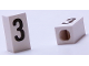 Part No: bb0695pb03  Name: Tile, Modified 1 x 2 x 5/6 with Stud Hole in End and Black '3' Pattern