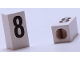 Part No: bb0695pb08  Name: Tile, Modified 1 x 2 x 5/6 with Stud Hole in End and Black '8' Pattern
