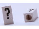 Part No: bb0695pb13  Name: Tile, Modified 1 x 2 x 5/6 with Stud Hole in End and Black '?' Question Mark Pattern