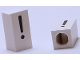 Part No: bb0695pb18  Name: Tile, Modified 1 x 2 x 5/6 with Stud Hole in End and Black '!' Exclamation Mark Pattern