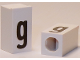 Part No: bb0695pb51  Name: Tile, Modified 1 x 2 x 5/6 with Stud Hole in End and Black 'g' Lower Case Pattern