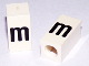 Part No: bb0695pb57  Name: Tile, Modified 1 x 2 x 5/6 with Stud Hole in End and Black 'm' Lower Case Pattern