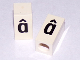 Part No: bb0695pb79  Name: Tile, Modified 1 x 2 x 5/6 with Stud Hole in End and Black 'â' Lower Case Pattern