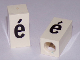 Part No: bb0695pb80  Name: Tile, Modified 1 x 2 x 5/6 with Stud Hole in End and Black 'é' Lower Case Pattern