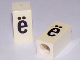 Part No: bb0695pb82  Name: Tile, Modified 1 x 2 x 5/6 with Stud Hole in End and Black 'ë' Lower Case Pattern