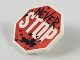 Part No: bb0883pb01  Name: Minifigure, Shield Octagonal with Black Graffiti 'NEVER' and Paint Splatter and White 'STOP' on Red Stop Sign Background Pattern