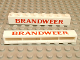 Part No: crssprt01pb06  Name: Brick 1 x 8 without Bottom Tubes with Cross Side Supports with Red 'BRANDWEER' Bold Pattern