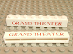 Part No: crssprt01pb09  Name: Brick 1 x 8 without Bottom Tubes with Cross Side Supports with Red 'GRAND THEATER' Thin Pattern