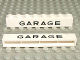 Part No: crssprt01pb10  Name: Brick 1 x 8 without Bottom Tubes with Cross Side Supports with Black 'GARAGE' Sans-Serif Medium Pattern