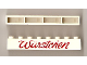 Part No: crssprt01pb19  Name: Brick 1 x 8 without Bottom Tubes with Cross Side Supports with Red 'Wurstchen' Script Pattern ('Würstchen')