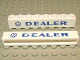 Part No: crssprt01pb23  Name: Brick 1 x 8 without Bottom Tubes with Cross Side Supports with Blue 'VW DEALER' Sans-Serif Bold Pattern