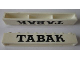 Part No: crssprt01pb43  Name: Brick 1 x 8 without Bottom Tubes with Cross Side Supports with Black 'TABAK' thick Serif Pattern
