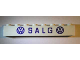 Part No: crssprt01pb59  Name: Brick 1 x 8 without Bottom Tubes with Cross Side Supports with Blue 'VW SALG VW' Narrow Pattern