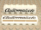 Part No: crssprt02pb06  Name: Brick 1 x 6 without Bottom Tubes with Cross Side Supports with Black 'Automatiek' Cursive Pattern