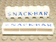 Part No: crssprt02pb17  Name: Brick 1 x 6 without Bottom Tubes with Cross Side Supports with Blue 'SNACK-BAR' Thin Pattern