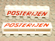 Part No: crssprt02pb19  Name: Brick 1 x 6 without Bottom Tubes with Cross Side Supports with Red 'POSTERIJEN' Slanted Pattern