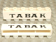 Part No: crssprt02pb24  Name: Brick 1 x 6 without Bottom Tubes with Cross Side Supports with Black 'TABAK' Serif Small Pattern