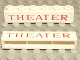 Part No: crssprt02pb25a  Name: Brick 1 x 6 without Bottom Tubes with Cross Side Supports with Red 'THEATER' Serif Thin Pattern