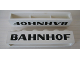Part No: crssprt02pb32  Name: Brick 1 x 6 without Bottom Tubes with Cross Side Supports with Black 'BAHNHOF' Sans-Serif Pattern