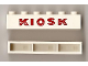 Part No: crssprt02pb33  Name: Brick 1 x 6 without Bottom Tubes with Cross Side Supports with Red 'KIOSK' Sans-Serif Thick Pattern