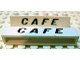 Part No: crssprt02pb35  Name: Brick 1 x 6 without Bottom Tubes with Cross Side Supports with Black 'CAFE' Slanted Pattern