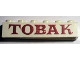 Part No: crssprt02pb41b  Name: Brick 1 x 6 without Bottom Tubes with Cross Side Supports with Red 'TOBAK' Serif Pattern